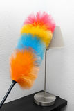 Colorful duster cleaning dust from the lamp Stock Photos