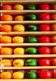 Colorful Dutch cheese on the shelf. Yellow,orange,green and red heads of Dutch cheese on the shopping shelves Royalty Free Stock Photos