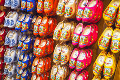 Colorful Dutch clogs made of poplar wood Stock Image