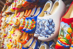 Colorful Dutch shoes made of poplar wood Stock Image