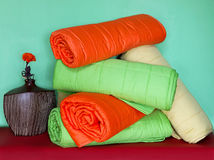 Colorful duvets stock photography