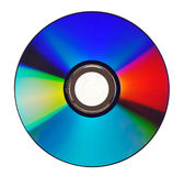 Colorful DVD. Overhead view of colorful DVD or digital video disc, isolated on white background stock photography