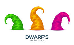 Colorful dwarf caps vector set Royalty Free Stock Photos
