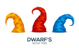 Colorful dwarf caps vector set Stock Photography