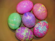 Colorful dyed Easter eggs in bowl Royalty Free Stock Photo