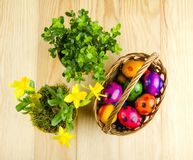 Colorful dyed Easter eggs on wooden table Royalty Free Stock Photography