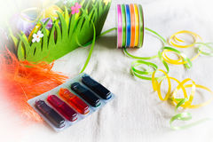 Colorful dyes and ribbons for easter eggs preparation Stock Photos