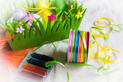 Colorful dyes and ribbons for easter eggs preparation Stock Photo