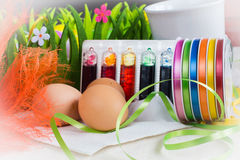 Colorful dyes and ribbons for easter eggs preparation Stock Images
