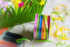 Colorful dyes and ribbons for easter eggs preparation Royalty Free Stock Photo