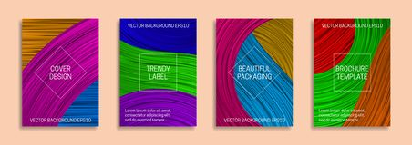 Colorful dynamic backgrounds for cover design. Trendy labels for beautiful packaging. Bright saturated brochure templates.  vector illustration