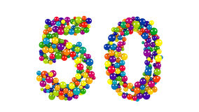 Colorful dynamic number 50 for a golden jubilee. Celebration or festive event formed of small multicolored balls in the colors of the rainbow isolated on white Royalty Free Stock Photos