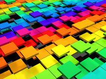 Colorful dynamic square background. 3d illustration Royalty Free Stock Photo