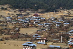 Colorful Dzong in beautiful bhutanese Village Royalty Free Stock Image