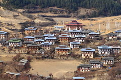 Colorful Dzong in beautiful bhutanese Village Stock Images