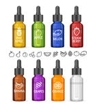 Colorful E-liquid Bottle Set. Vector Royalty Free Stock Photos