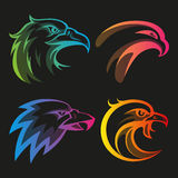 Colorful eagle head logos with rainbow gradients Stock Image