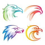 Colorful eagle head logos with rainbow gradients Stock Photo