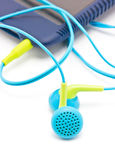 Colorful Earphones With Portable mp3 Player. Royalty Free Stock Photo