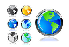 Colorful earth icon set Royalty Free Stock Image