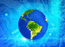 Colorful earth on motherboard background Stock Images