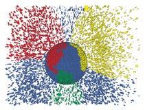 Colorful earth splash explosion. Colorful earth splash abstract vector illustration. Globe explosion. Earth day, big data, global warming, globalization idea Stock Photos