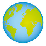 colorful earth world map with continents in 3d Royalty Free Stock Photo