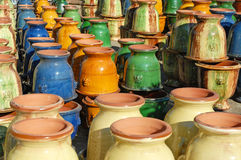 Colorful earthenware vases Royalty Free Stock Image
