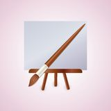 Colorful easel with brush. Colorful wood easel with brush Stock Photos