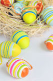 Colorful Easter. Painted Colorful Easter Eggs ON WHITE royalty free stock photos