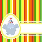 Colorful Easter background. With Stripes, Egg, Chicken and free space for Your greetings. Good pattern for postcard Stock Photography
