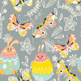 Colorful Easter background with  bunny,butterfly and flowers Stock Images