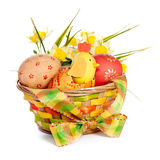 Colorful Easter basket decoration Royalty Free Stock Image