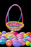 Colorful Easter basket and eggs Royalty Free Stock Image
