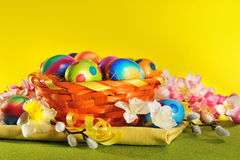 Colorful easter basket Royalty Free Stock Image
