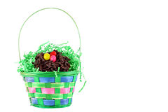 Colorful Easter Basket on white Royalty Free Stock Image