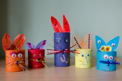 Colorful Easter bunnies. Made of cardboard and paper Stock Image
