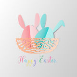 Colorful Easter bunnies in easter eggs on nest egg on gray backg. Round, paper cut style design by Vector illustration EPS 10 Stock Photos