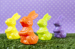 Colorful Easter bunnies Stock Photo