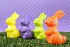 Colorful Easter bunnies Stock Photos
