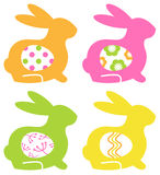 Colorful Easter Bunnies With Eggs Isolated On Whit Stock Photography