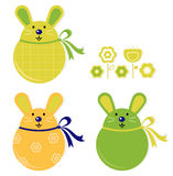 Colorful easter bunny stickers set Stock Images