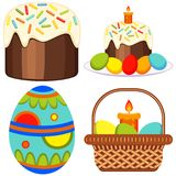 Colorful easter candle egg basket cake icon set. Colorful cartoon easter candle egg basket cake icon set. Coloring book page for adults and kids. Vector vector illustration
