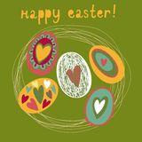 Colorful Easter card. Backet with eggs Stock Image