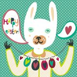 Colorful Easter card with bunny and eggs. This is file of EPS8 format Royalty Free Stock Images