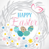 Colorful Easter card with flowers and eggs. Isolated on white background Royalty Free Stock Image