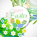 Colorful Easter card with flowers and eggs. Isolated on white background Royalty Free Stock Photography