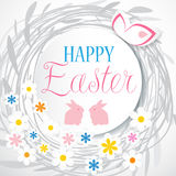 Colorful Easter card with flowers and eggs. Isolated on white background Royalty Free Stock Photos