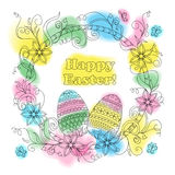Colorful easter card with patterned eggs, floral frame and butte. Greeting colorful easter card with hand drawn patterned eggs, flowers and headline `Happy Royalty Free Stock Photo