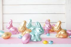 Colorful easter chocolate bunnies stock photos